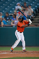 Bowie Baysox Cedric Mullins (2) at bat during an Eastern League game against the Richmond Flying Squirrels on August 15, 2019 at Prince George's Stadium in Bowie, Maryland.  Bowie defeated Richmond 4-3.  (Mike Janes/Four Seam Images)