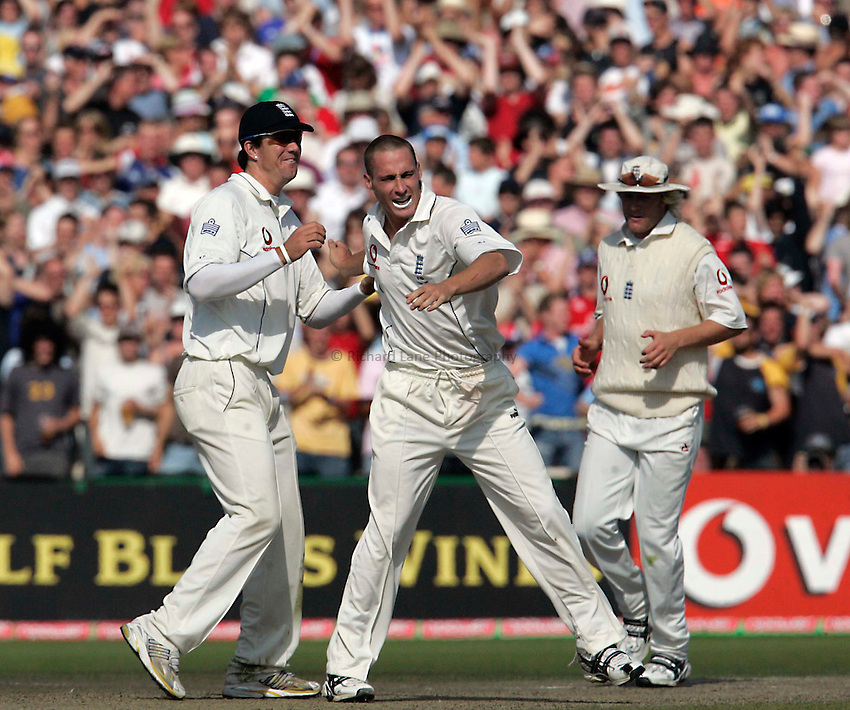Photo: Peter Phillips..England v Australia. nPower Test Match Series, The Ashes 3rd Test. 15/08/2005..Michael Clarke is bowled by Simon Jones.