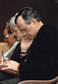 United States President George H.W. Bush and first lady Barbara Bush attend Sunday church services at Camp David, the presidential retreat near Thurmont, Maryland on January 13, 1991.<br /> Mandatory Credit: Carol T. Powers / White House via CNP