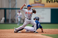 St. Lucie Mets second baseman Vinny Siena (9) turns a double play during a game against the Lakeland Flying Tigers on June 11, 2017 at Joker Marchant Stadium in Lakeland, Florida.  Lakeland defeated St. Lucie 1-0.  (Mike Janes/Four Seam Images)