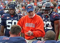 Virginia head coach Al Groh talks with the defense during the 16-13 overtime win over UNC Saturday October 18, 2008 at Scott Stadium in Charlottesville, Va.