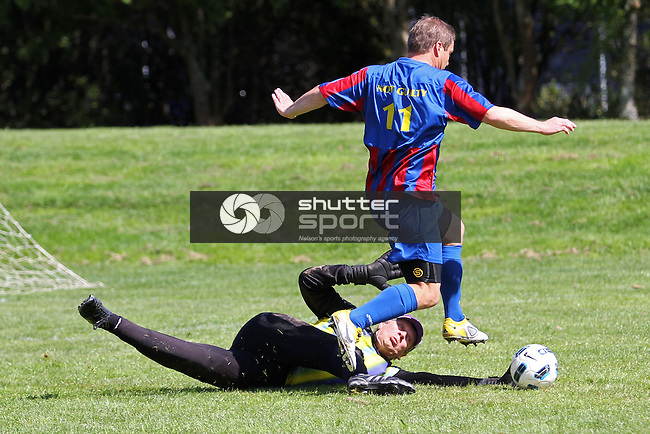 Metrosexual's keeper Peter Moot dives at the feet of Select's 'Not Guilty during the Metrosexuals v Nelson Select semi-final at the SI Masters Games, 17 October 2011, Nelson, New Zealand<br /> Photo: Marc Palmano/shuttersport.co.nz