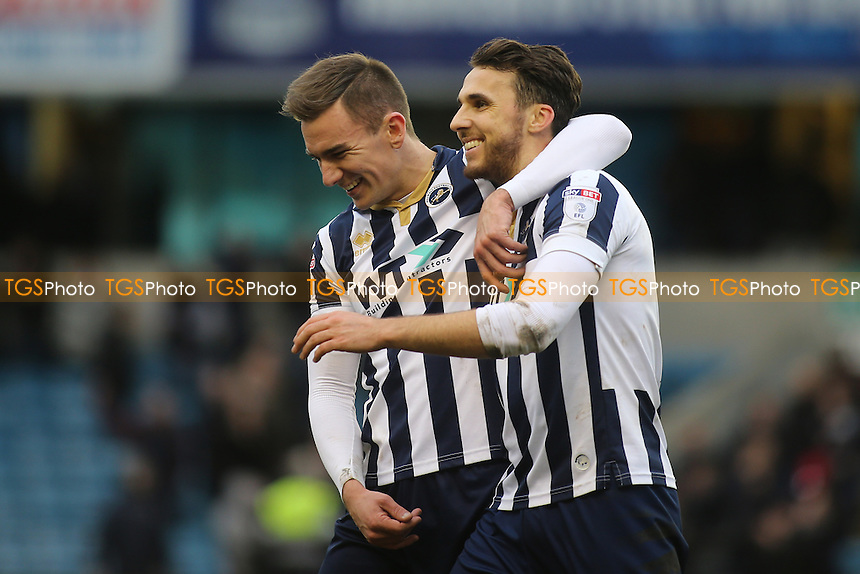 Lee Gregory, scorer of both Millwall goals, celebrates with Jed Wallace at the final whistle during Millwall vs MK Dons, Sky Bet EFL League 1 Football at The Den on 4th March 2017