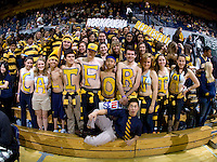 CAL fans pose together with CALIFORNIA letters for group photos before the game against Stanford at Haas Paviliion in Berkeley, California on March 6th, 2013.  Stanford defeated California, 83-70.