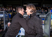 Nathan Jones manager of Luton Town and Wycombe Wanderers Manager Gareth Ainsworth during the Sky Bet League 2 match between Wycombe Wanderers and Luton Town at Adams Park, High Wycombe, England on the 21st January 2017. Photo by Liam McAvoy.