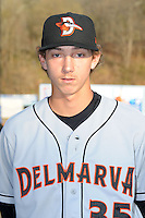 Delmarva Shorebirds pitcher Hunter Harvey #35 before opening night game against the Asheville Tourists at McCormick Field on April 3, 2014 in Asheville, North Carolina. The Tourists defeated the Shorebirds 8-3. (Tony Farlow/Four Seam Images)