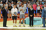 Spanish tennis player Rafael Nadal and japanese Kei Nishikori pose with Queen Sofia of Spain and tournament president Manolo Santana during Madrid Open Tennis 2014 closing ceremony. May 11, 2014. (ALTERPHOTOS/Victor Blanco)