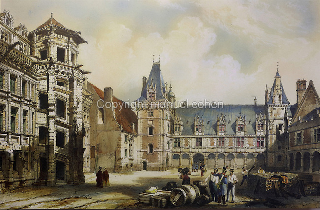 View of the Chateau Royal de Blois before the restoration programme undertaken 1844-70 by Felix Duban, watercolour painting, in the Chateau Royal de Blois, built 13th - 17th century in Blois in the Loire Valley, Loir-et-Cher, Centre, France. In the centre is the Louis XII wing, built 1498-1500 in Gothic style with some Renaissance elements, and on the left, the monumental spiral staircase of the 16th century Italian Renaissance Francois I wing, seen from the courtyard of the chateau. The chateau has 564 rooms and 75 staircases and is listed as a historic monument and UNESCO World Heritage Site. Picture by Manuel Cohen