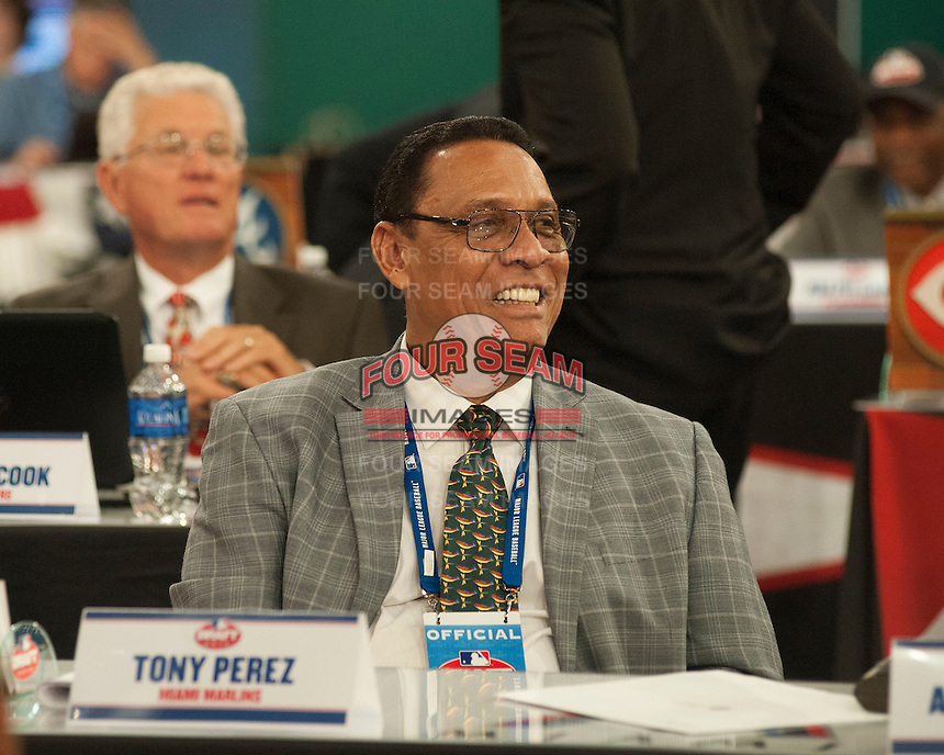 Hall of Fame infielder Tony Perez during the MLB Draft on Thursday June 05,2014 at Studio 42 in Secaucus, NJ.   (Tomasso DeRosa/ Four Seam Images)