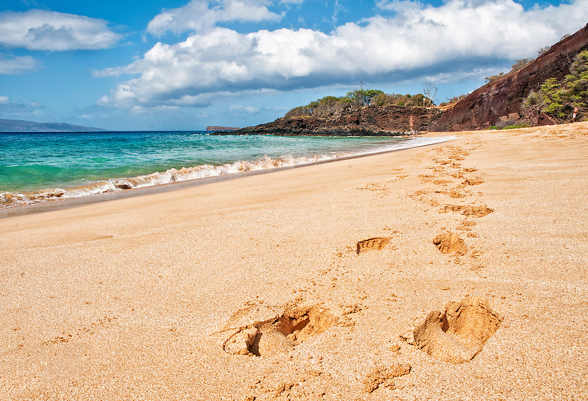 Footsteps in the sand on Big Beach, Makena, Maui, Hawaii