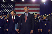United States President George W. Bush visited Philadelphia, Pennsylvania on Monday May 14, 2001 for a noontime speech at which he and Attorney General John Ashcroft, left, promoted their safe neighborhood program that will create local partnerships to enforce existing gun laws.<br /> Credit: Consolidated News Photos