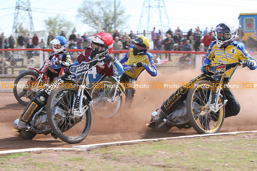 Heat 11: Lee Richardson (red), Lewis Bridger (white), Timo Lahti (white) and Kyle Howarth - Lakeside Hammers vs Eastbourne Eagles - Sky Sports Elite League Speedway at Arena Essex Raceway, Purfleet - 06/04/12 - MANDATORY CREDIT: Gavin Ellis/TGSPHOTO - Self billing applies where appropriate - 0845 094 6026 - contact@tgsphoto.co.uk - NO UNPAID USE.