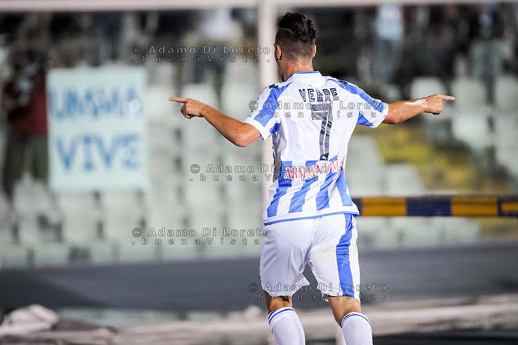 Verre Valerio (PESCARA) after the first goal during the Italian Cup - TIM CUP -match between Pescara vs Frosinone, on August 13, 2016. Photo: Adamo Di Loreto/BuenaVista*photo