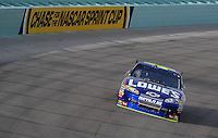Nov. 22, 2009; Homestead, FL, USA; NASCAR Sprint Cup Series driver Jimmie Johnson during the Ford 400 at Homestead Miami Speedway. Mandatory Credit: Mark J. Rebilas-