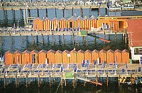 Red and yellow bathing huts, Sorrento.