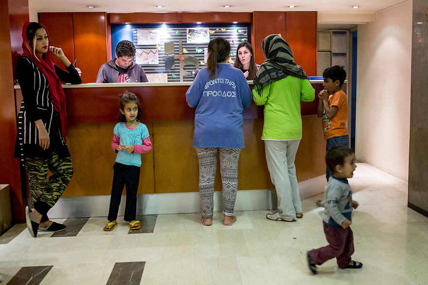 Family Hotel <br /> At City Plaza, which opened last week, there are more than 300 guests from Iraq, Afghanistan, Syria and Iran. Most of them are families with children, elderly and vulnerable people. <br /> Photo by Jodi Hilton