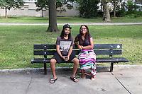 Friends Jordan Welsh (left) and Natalya Lynn, both of Mount Airy, Pennsylvania, both 23, are seen here in Vernon Park in East Germantown, Philadelphia, Pennsylvania, on Tues., July 26, 2016. They were in the park playing Pokemon Go.