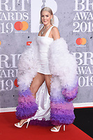 LONDON, UK. February 20, 2019: Anne-Marie arriving for the BRIT Awards 2019 at the O2 Arena, London.<br /> Picture: Steve Vas/Featureflash<br /> *** EDITORIAL USE ONLY ***