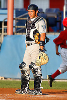 August 12, 2009:  Catcher Sandy Leon of the Vermont Lake Monsters during a game at Dwyer Stadium in Batavia, NY.  The Lake Monsters are the Short-Season Class-A affiliate of the Washington Nationals.  Photo By Mike Janes/Four Seam Images