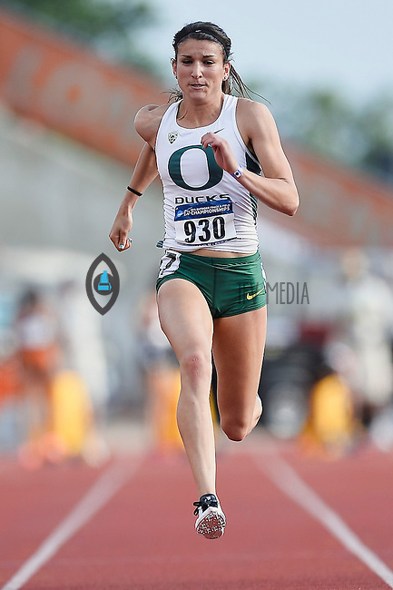 Jenna Pradini of Oregon competes in 100 meter prelims during West Preliminary Track and Field Championships, Friday, May 29, 2015 in Austin, Tex. (Mo Khursheed/TFV Media via AP Images)