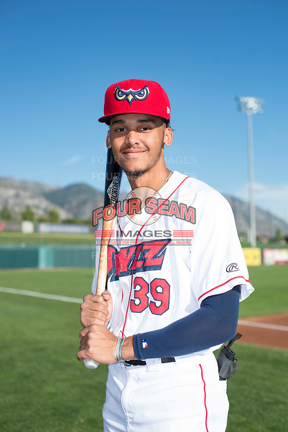 Orem Owlz shortstop Jeremiah Jackson (39) poses for a photo prior to a Pioneer League game against the Ogden Raptors at the Home of the OWLZ on August 24, 2018 in Orem, Utah. The Ogden Raptors defeated the Orem Owlz by a score of 13-5. (Zachary Lucy/Four Seam Images)