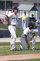 Boston Red Sox Wade Boggs and Tony Pena (kneeling) during spring training circa 1991 at Chain of Lakes Park in Winter Haven, Florida.  (MJA/Four Seam Images)