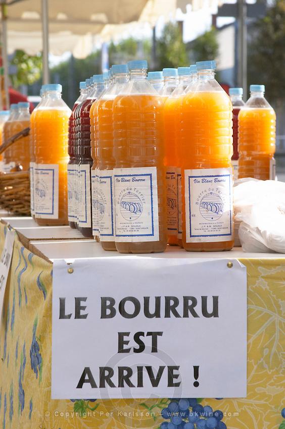 On a street market. Le bourru, half fermented grape juice. Bordeaux city, Aquitaine, Gironde, France