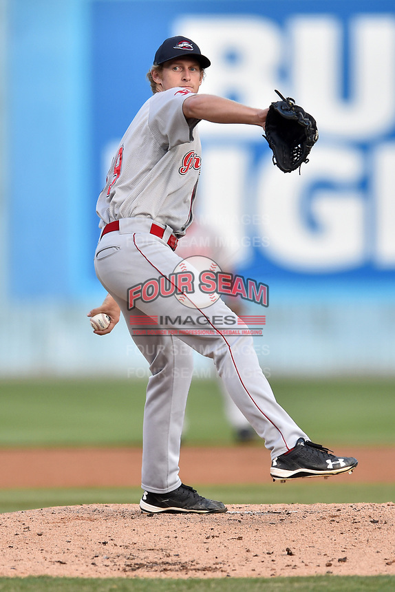 Greenville Drive starting pitcher Logan Boyd (39) delivers a pitch during a game against the Asheville Tourists at McCormick Field on April 14, 2017 in Asheville, North Carolina. The Drive defeated the Tourists 6-0. (Tony Farlow/Four Seam Images)