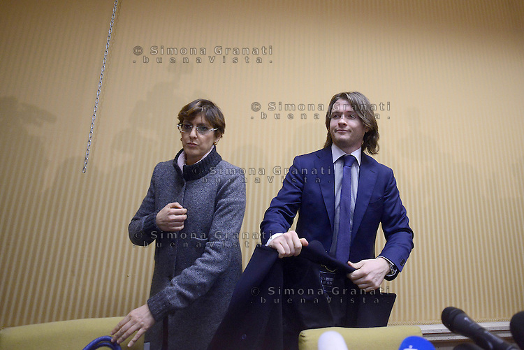 Roma, 30 Marzo 2015.<br /> Raffaele Sollecito e la sua avvocata Giulia Bongiorno.<br /> Centro Congressi Cavour.<br /> Raffaele Sollecito, nella conferenza stampa dopo la sentenza di assoluzione in Cassazione  che lo ha ritenuto innocente dell&rsquo;omicidio della studentessa inglese Meredith Kercher insieme all&rsquo;ex fidanzata Amanda Knox. <br /> <br /> Raffaele Sollecito, in the press conference after the acquittal in the Supreme Court which found him innocent of the murder of British student Meredith Kercher along with former girlfriend Amanda Knox.<br /> Raffaele Sollecito and his lawyer Giulia Bongiorno.