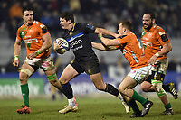 Freddie Burns of Bath Rugby takes on the Benetton Rugby defence. European Rugby Champions Cup match, between Benetton Rugby and Bath Rugby on January 20, 2018 at the Municipal Stadium of Monigo in Treviso, Italy. Photo by: Patrick Khachfe / Onside Images
