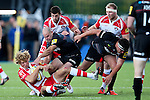 Gloucester's Billy Twelvetrees is thrown to the floor by Saracens' Charlie Hodgson - Rugby Union - 2014 / 2015 Aviva Premiership - Saracens vs. Gloucester - Allianz Park Stadium - London - 11/10/2014 - Pic Charlie Forgham-Bailey/Sportimage