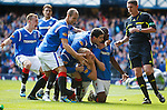 Steven Naismith celebrates after firing Rangers into the lead