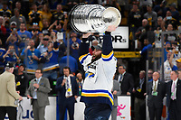 June 12, 2019: St. Louis Blues left wing Pat Maroon (7) hoists the Stanley Cup at game 7 of the NHL Stanley Cup Finals between the St Louis Blues and the Boston Bruins held at TD Garden, in Boston, Mass.  The Saint Louis Blues defeat the Boston Bruins 4-1 in game 7 to win the 2019 Stanley Cup Championship.  Eric Canha/CSM.