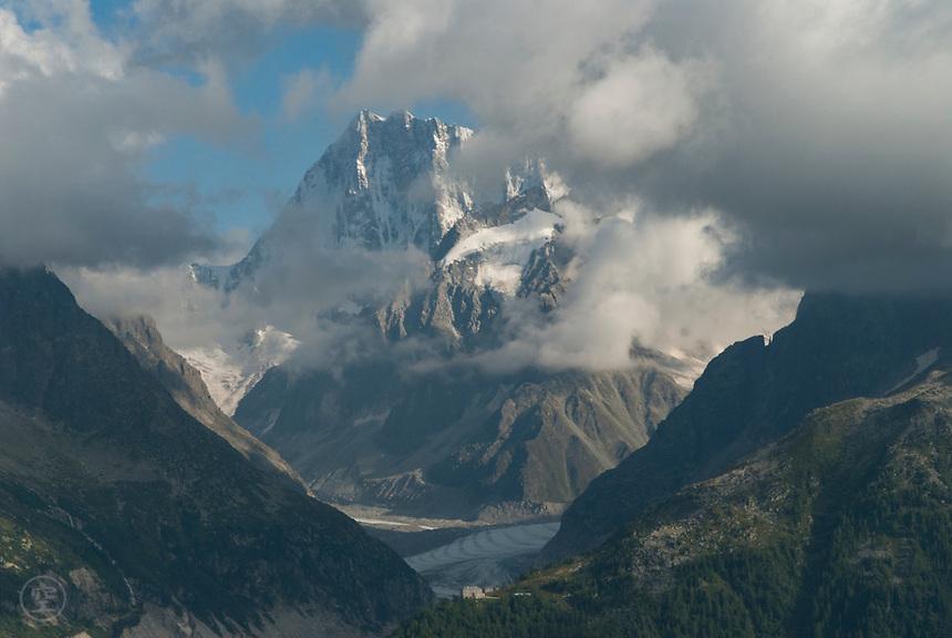 Mont Blanc and the Mer du Glace glacier, September 2007