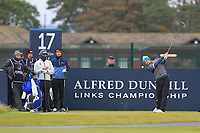 Eddie Pepperell (ENG) on the 17th tee during round 4 of the Alfred Dunhill Links Championship at Old Course St. Andrew's, Fife, Scotland. 07/10/2018.<br /> Picture Thos Caffrey / Golffile.ie<br /> <br /> All photo usage must carry mandatory copyright credit (&copy; Golffile | Thos Caffrey)