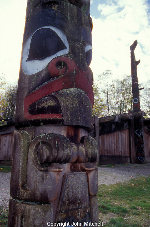 Haida Indian totem pole and cedar longhouse at the Museum of Anthropology on the campus of the University of British Columbia, Vancouver, Canada
