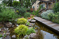 Cisterns with rain water harvest for backyard pond with boardwalk in Judy Adler Garden, Walnut Creek, California