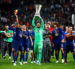 Sergio Romero of Manchester United celebrates with the trophy after the UEFA Europa League Final match at the Friends Arena, Stockholm. Picture date: May 24th, 2017.Picture credit should read: Matt McNulty/Sportimage
