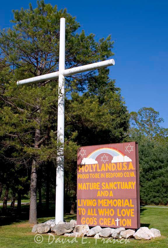 Cross and sign at Holy Land USA, a 250-acre replica of the Holy Land and Bible Lands in Israel, Syria and Jordan is located in Bedford, Virginia.