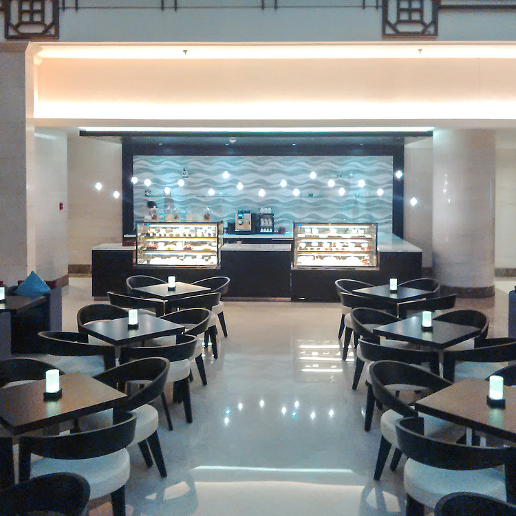 This custom commercial installation features Mirage, a handmade mosaic shown in hand-chopped and tumbled Kay's Green, Celeste, Thassos, Blue Macauba, Blue Bahia, and Ming Green.<br /> -photo courtesy of Sensi and the Sheraton Dubai<br /> <br /> For pricing samples and design help, click here: http://www.newravenna.com/showrooms/