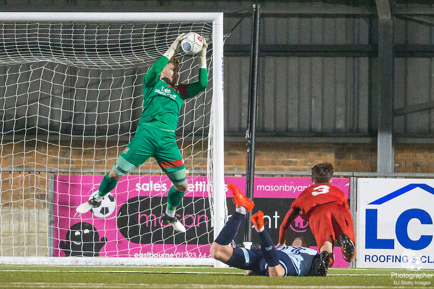 Mark Smith (GK) (Eastbourne) saves the ball during Parafix Sussex Senior Cup Quarter Final between Eastbourne Borough FC & Crawley Town FC on Tuesday 09 January 2018 at Priory Lane. Photo by Jane Stokes (DJ Stotty Images)