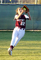 Westside Eagle Observer/RANDY MOLL<br /> Gentry's Mazzi Jones fields a fly ball during play against Har-Ber High School at Gentry on Thursday.