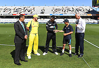 Captains Kane Williamson and Aaron Finch with the ANZ coin toss winner and Sky TV's Mark Richardson.<br /> International One Day Cricket. Chappell&ndash;Hadlee Trophy, Game 1. Eden Park Monday 30 January 2017 &copy; Copyright photo: Andrew Cornaga / www.photosport.nz