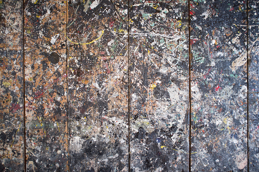 Jackson Pollock Lee Krasner studio floor in Springs, Long Island.  New York 2012