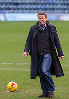Bill Turnbull has a kick about during BBC Breakfast as they air their live broadcast on Tuesday morning, presented by Bill Turnbull for his penultimate appearance on the programme at Adams Park, High Wycombe, England on 23 February 2016. Photo by Andy Rowland.