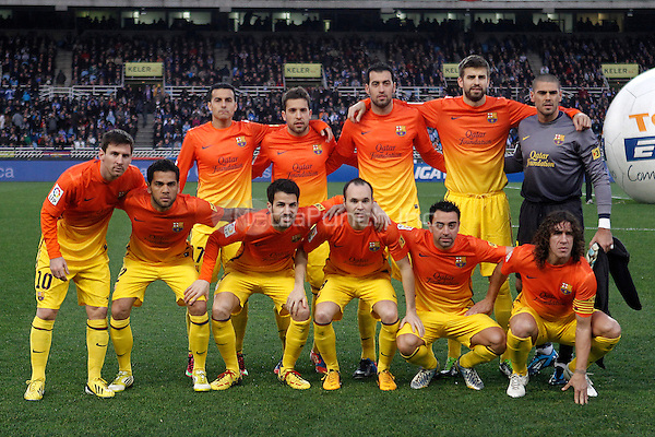 FC Barcelona's team phot with Pedro Rodriguez, Jordi Alba, Sergio Busquets, Gerard Pique, Victor Valdes, Leo Messi, Daniel Alves, Cesc Fabregas, Andres Iniesta, Xavi Hernandez and Carles Puyol during La Liga match.January 19,2013. (ALTERPHOTOS/Acero) /NortePhoto /MediaPunch Inc. ***FOR USA ONLY***