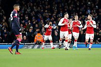 GOAL - Alexandre Lacazette of Arsenal celebrates scoring during the Premier League match between Arsenal and Huddersfield Town at the Emirates Stadium, London, England on 29 November 2017. Photo by Carlton Myrie / PRiME Media Images.