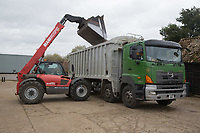 Tele-handler loading a grain lorry on farm<br /> Picture Tim Scrivener 07850 303986<br /> &hellip;.covering agriculture in the UK&hellip;.