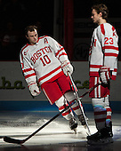Danny O'Regan (BU - 10), Jakob Forsbacka Karlsson (BU - 23) - The Boston University Terriers defeated the visiting Merrimack College Warriors 4-0 (EN) on Friday, January 29, 2016, at Agganis Arena in Boston, Massachusetts.