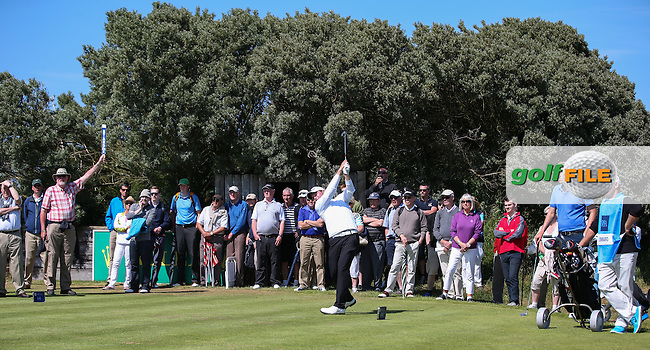 On the 14th tee Zander Lombard (South Africa) during the Semi-Finals at The Amateur Championship 2014 from Royal Portrush Golf Club, Portrush, Northern Ireland. Picture:  David Lloyd / www.golffile.ie